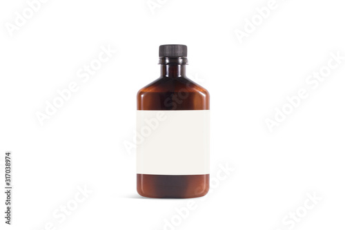Blank amber plastic bottle with white label mockup, isolated Wallpaper Mural
