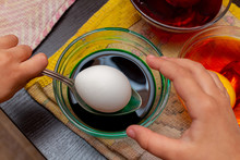 Painting, Dying Green Eggs For Easter In Glass Jar