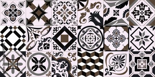 Traditional ornate Portuguese decorative tiles azulejos Fototapet