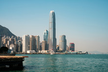 Central Pier, Victoria Harbour And Skyline Of HongKong Island -