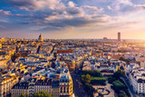 Fototapeta Fototapety Paryż - Panoramic view of Paris with the Pantheon at sunset, France. View of the Pantheon and the latin district at sunset, Paris, France.