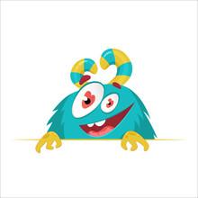 Cartoon Monster Face. Vector C...