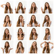 collage of portraits of beautiful woman with different positive and negative emotions on white background