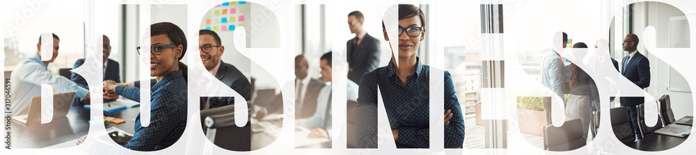 Fototapeta Collage of smiling diverse businesspeople working in an office boardroom