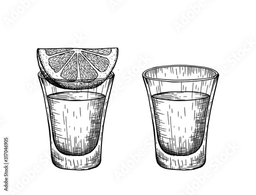 Fotografie, Obraz A shot of tequila and a slice of lemon