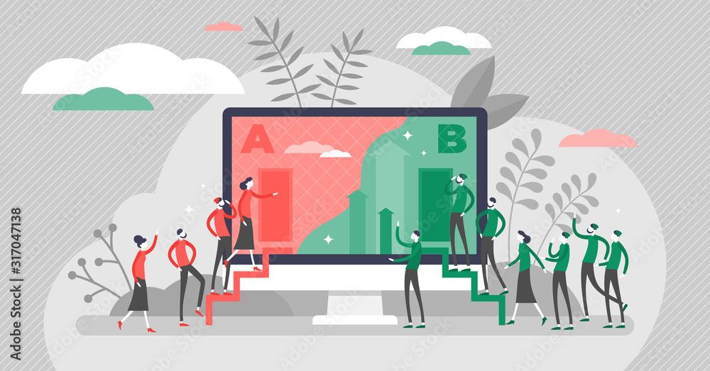 Fototapeta A B split test marketing concept, flat tiny persons vector illustration