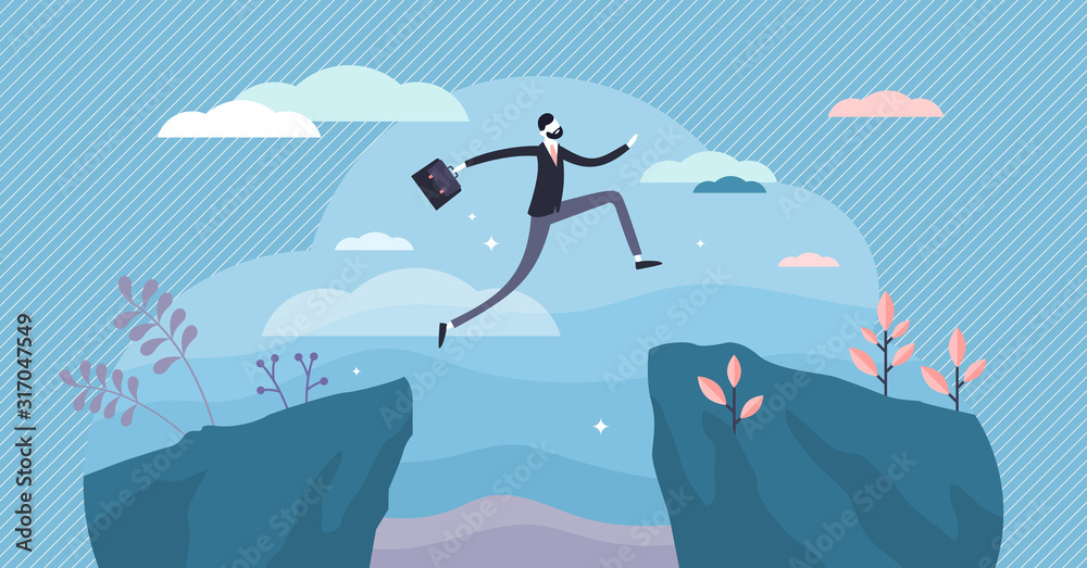 Fototapeta Next big business leap, businessman jumping over a cliff gorge. Flat tiny person vector illustration