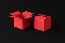 Open And Closed Red Box On A Black Background, Two Boxes, Place For Text, Place For Logo, Wallpaper