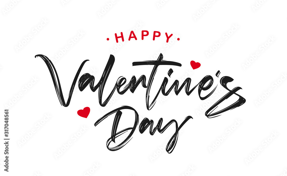 Handwritten brush ink lettering of Happy Valentines Day on white background.