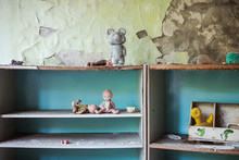 Toys On The Shelf. Kindergarten Pripyat, Ukraine
