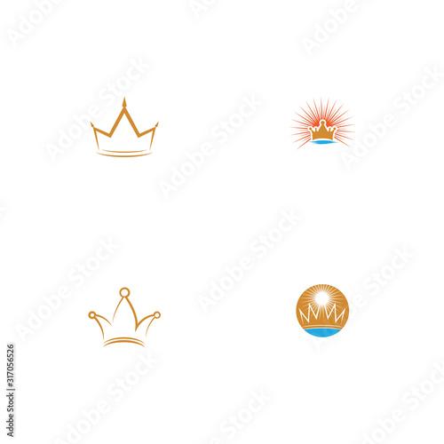 Set Crown Logo Template vector icon Wallpaper Mural