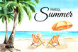 Seascape.Tropical beach with sea, white sand, palms, sun loungers and a beach umbrella, summer vacation concept and card. Hand drawn watercolor illustration