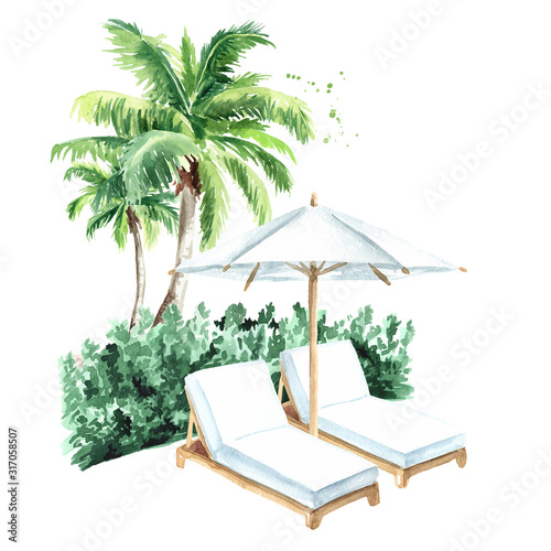 Fototapeta Sun loungers and palm trees, summer vacation concept