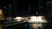 Photo Of The Dubai Dancing Fountain At Night, Largest Choreographed Fountain System In Dubai