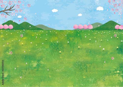 山と草原と桜の景色水彩