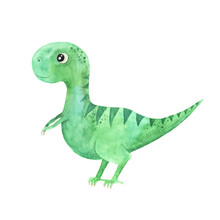 Watercolor Cute Little Dinosaur