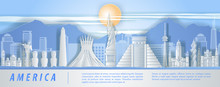 America Famous Landmark Paper Art Style With Blue And White Color,vector Illustration