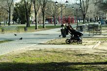 Empty Baby Stroller In The Park. Pram In The Playground.