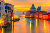 Sunset on Grand Canal and Basilica of Santa Maria della Salute, Venice, Italy