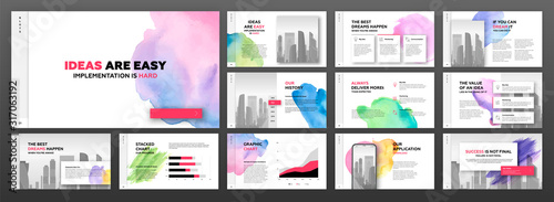 Fototapeta Modern powerpoint presentation templates set for business with colourful watercolour blots and cityscape illustration on background. Artistic keynote template, landing page, horizontal brochure cover obraz