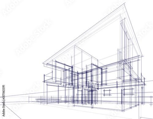Cuadros en Lienzo House building architecture concept sketch 3d