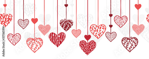 mata magnetyczna Cute hand drawn hanging doodle hearts horizontal seamless pattern, romantic background, great for textiles, valentines day wrapping, banner, wallpaper - vector design