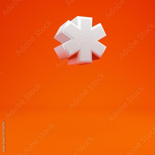 Photo Whithe glossy 3d asterisk symbol on hot orange background