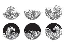 Water Wave Line Art Vector Illustration.