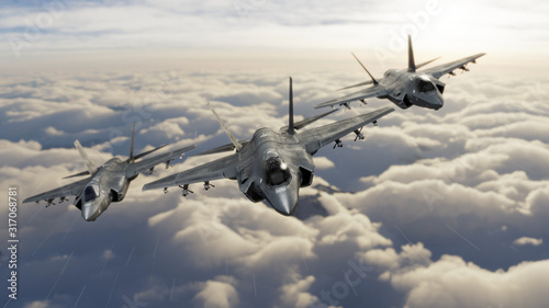 Three F-35 fighter jets flying over clouds in vic formation 3d render Fototapet