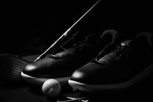 Golf Shoes On Isolated Black B...