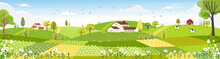 Rural Farm Landscape With Gree...