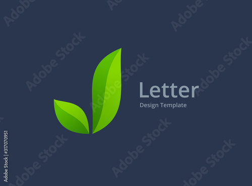 Fototapeta Letter J eco leaves logo icon design template elements obraz