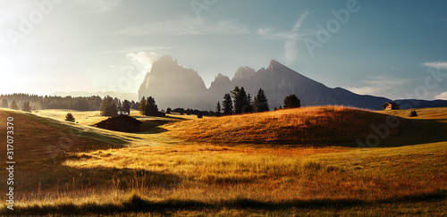 Wall mural - Amazing nature landscape during sunrise. Italy, Alpe di Siusi, Seiser Alm with Sassolungo Langkofel Dolomite, a large green field under sunlight with a mountain in the background. Wonderful Dolomites