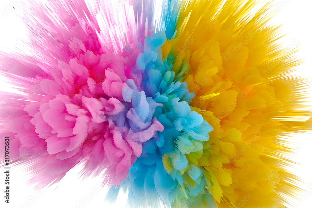 Fototapeta Colored powder explosion. Abstract closeup dust on backdrop. Colorful explode. Paint holi