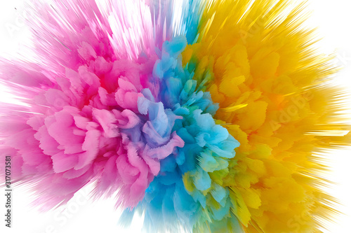 Fototapeta Colored powder explosion. Abstract closeup dust on backdrop. Colorful explode. Paint holi obraz