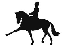 Silhouette Of A Dressage Rider...