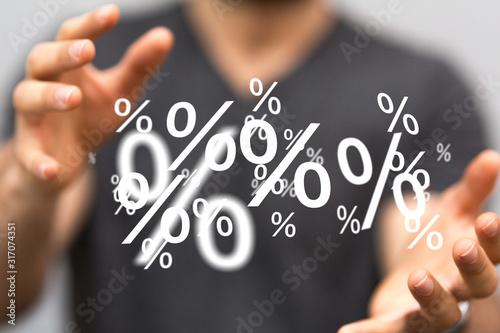 Fotomural percent shopping digital in hand