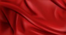 Red Silk Folded Fabric Backgro...