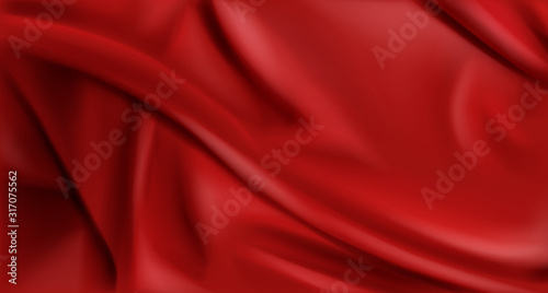 Fotomural Red silk folded fabric background, luxurious textile decoration backdrop for poster, banner or cover design