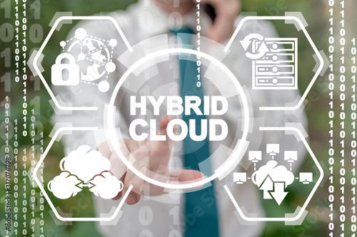 Hybrid Cloud Computing Security Data Base Concept. Fototapete