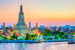 canvas print picture - Bangkok, Wat Arun, The temple of dawn. Wat Arun is one of the major attraction of Bangkok, Thailand