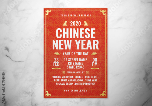 Fototapeta Red Chinese New Year Event Flyer Layout with Gold Accents obraz