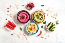 Colorful Dips Hummus