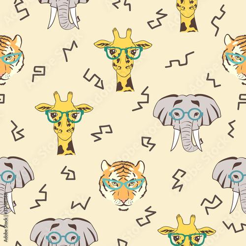 Seamless pattern with cute african animals: giraffe, elephant, tiger
