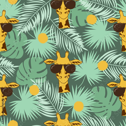 Seamless tropical pattern with giraffe and palm leaves Wallpaper Mural