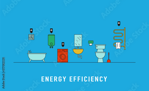 Cuadros en Lienzo Energy consumption of electric devices for bathroom vector illustration