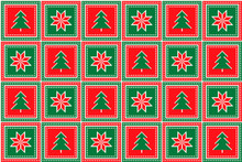 Christmas Pixel Pattern With Christmas Trees And Stars Ornament. Ugly Sweater Party Pattern Design. Scheme For Patchwork Quilt Or Knitted Sweater Pattern Design.