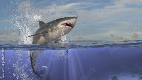 Perfect scene of great white shark jumping out of water and underwater is shown Canvas Print