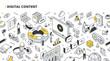 Digital Content Isometric Outline Illustration