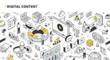 Digital Content Isometric Outl...